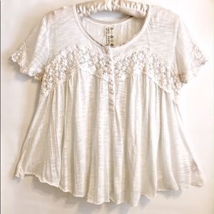 Free People Ivory Lace Baby Doll Top Size S P